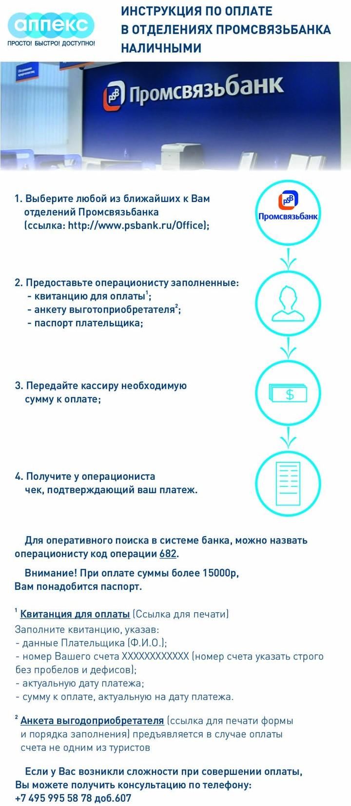 Инструкция по оплате в отделениях «Промсвязьбанка» наличными