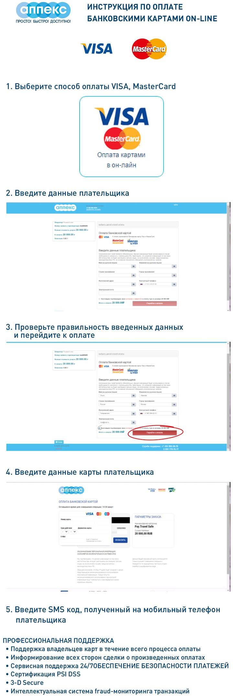 Инструкция по оплате банковскими картами онлайн